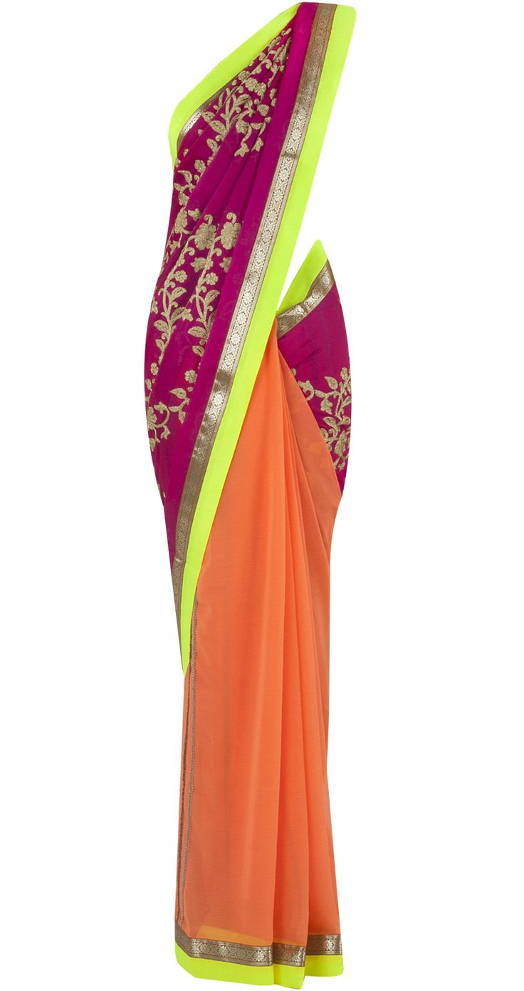 Shocking pink and neon orange patched sari by OHAILA KHAN. Shop at http://www.perniaspopupshop.com/whats-new/ohaila-khan-5967