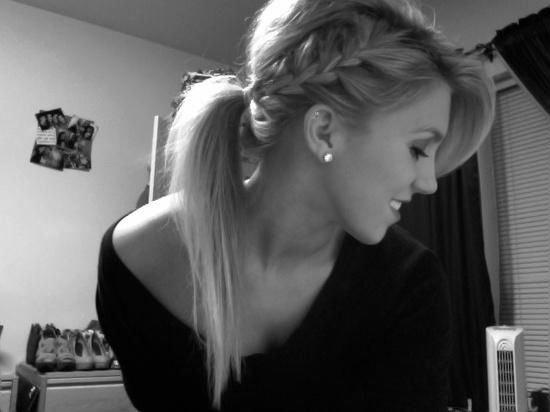 ponytail with side braid and bangs