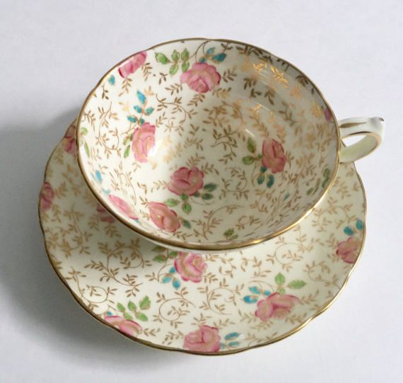 Pintadas de Chintz Copelands Grosvenor Tea Cup & Saucer