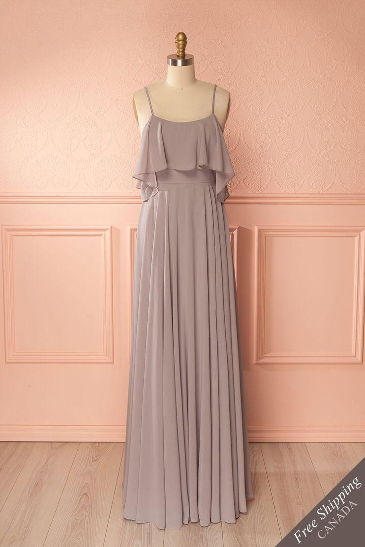 Grey off-shoulder flowy empire gown - Robe longue empire grise à épaules dégagées