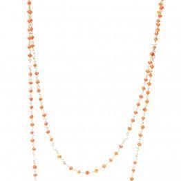 #Sautoir Marion d'Elicce Paris: élégant et raffiné composé de petites cornalines et perles blanches.
