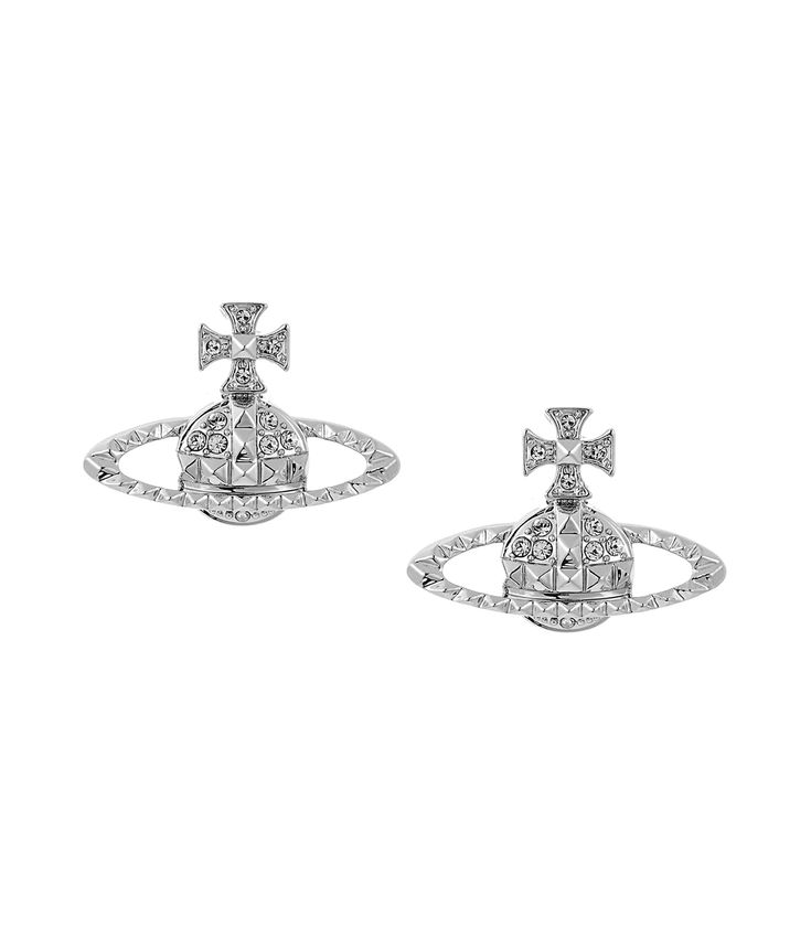 Classic Mayfair Orb stud earrings in Rhodium by Vivienne Westwood. Get it  at Silver Tree with Free gift wrapping and P&P