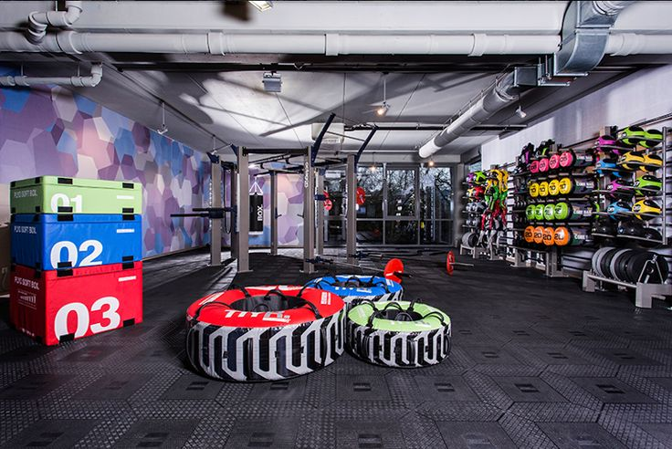 This facility highlights the use of the fitness rig with complete line of storage racks for exercise equipment and fitness accessories.
