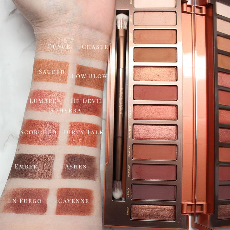 Urban Decay Naked Heat Swatches - Swatches on Pale Skin of the new palette! It's peaches, coppers, oranges, burgundies and browns.