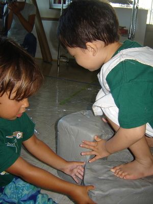 Set up blocks of clay so the children could experience using their whole bodies and all of their senses with them...For more Clay Pins: http://pinterest.com/kinderooacademy/clay/ ≈ ≈