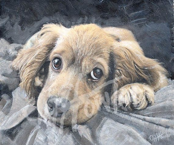 Puppy dog portrait painting or art print of a puppy. Custom