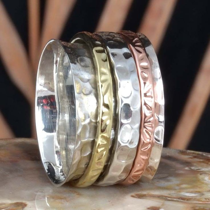 925 STERLING SILVER AMAZING THREE TONE SPINNER NEW RING 8.76g DJR11416 SZ-10 #Handmade #Ring