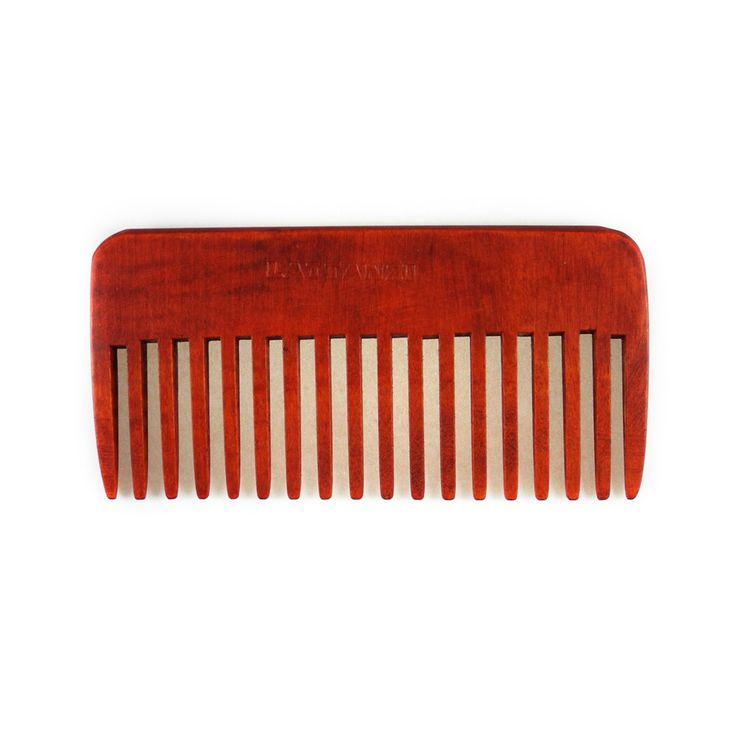 Pettine rosso lineare a denti alti in legno per capelli