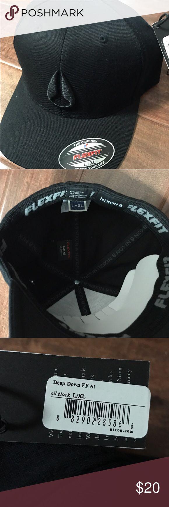 Nixon Deep Down Flex Fit Hat New Black Men's L/XL Flex Fit Hat Nixon Accessories Hats