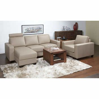 Gala Mushroom Top Grain Leather Sofa with Chaise and Chair