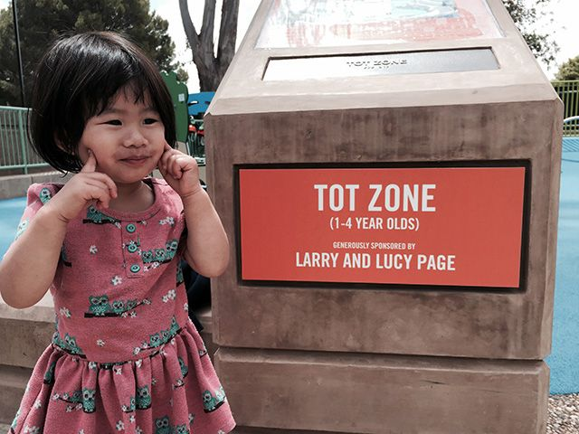 The founder of Google, Larry Page and his wife Lucy, have donated the tot zone to a park in Palo Alto, California named Mitchell Park, Magical Bridge.  It is the tot zone for ages 1 to 4.  Here is a p