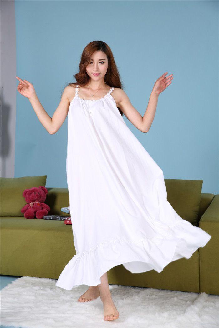 plus size lange katoen nachthemden bandje prinses sexy zomerjurk roze witte vintage toevallige jurk nachtkleding nachthemd nachtjapon in van Nachthemden en Sleepshirts op AliExpress.com | Alibaba Groep