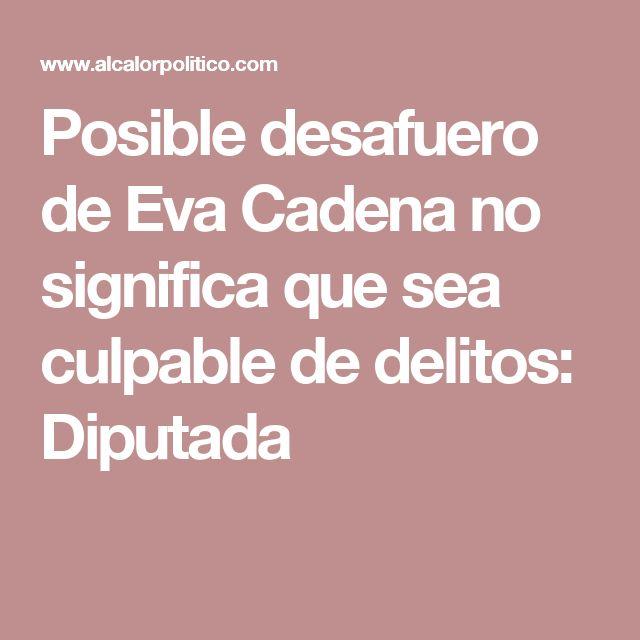 Posible desafuero de Eva Cadena no significa que sea culpable de delitos: Diputada