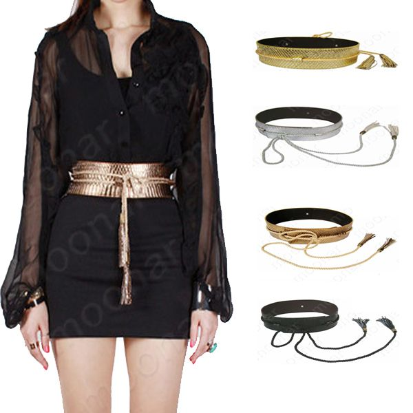 waist belt with tassle, available in gold, silver, bronze, and black $5.85 on Aliexpress