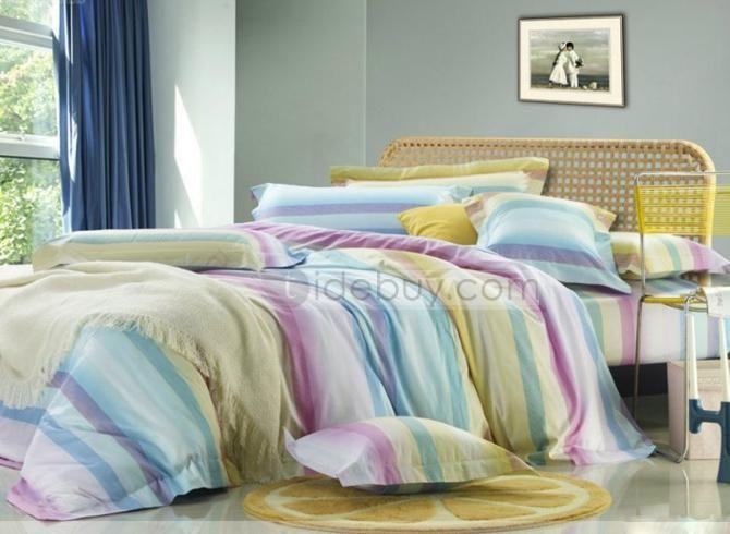 Colourful Stripe 4 Piece bedding Sets of 100% Cotton