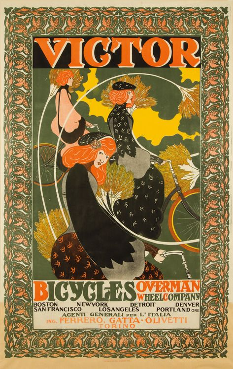 rare-posters:  Victor Bicycles / Overman Wheel Co. 1896. William...