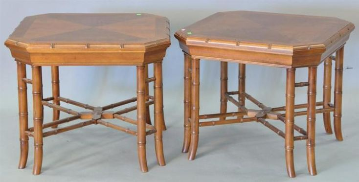 Three Contemporary side tables, banded and line inlaid. ht.