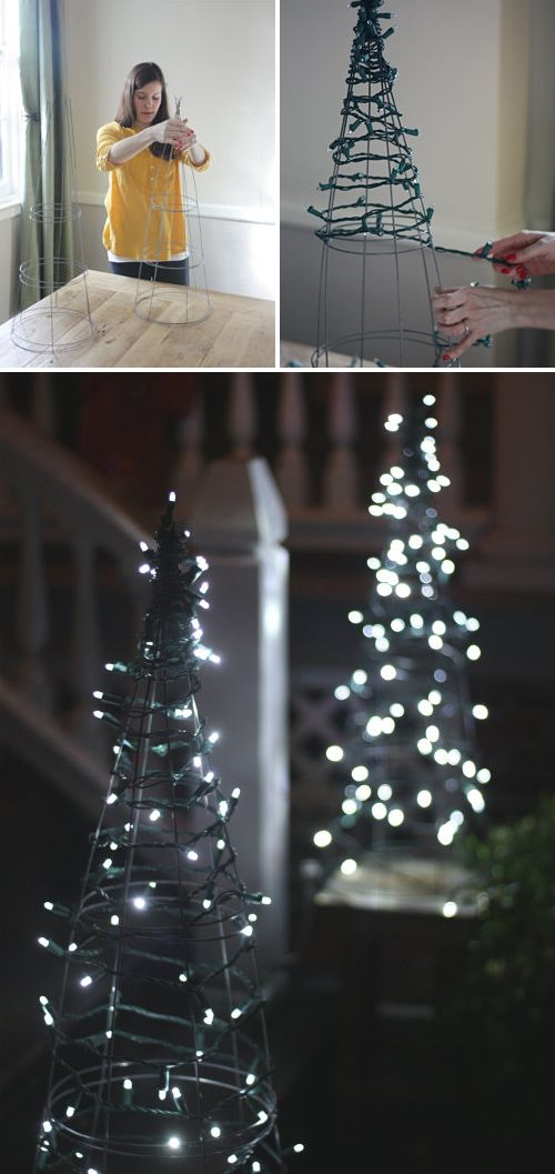 DIY Front Yard Christmas Decorating Projects • A round-up of great Ideas and Tutorials! Including, from '17 apart', see how they made these fabulous diy tomato cage Christmas trees.
