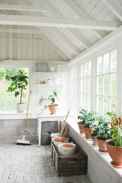 White Sunroom Greenhouse Potting Shed With Vaulted