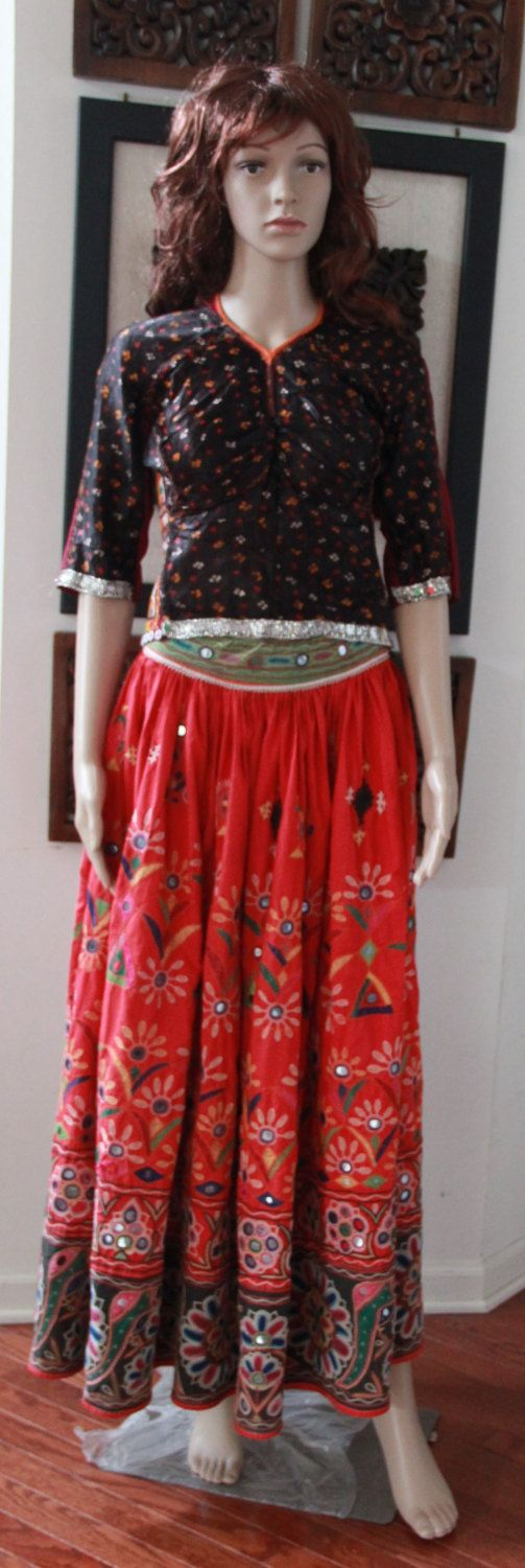 Beautiful Original Vintage style Rabari Ghagra Choli with Kutchi hand embroidery accentuated with mirror work in Orange and Black colour by EleganceByRajul on Etsy