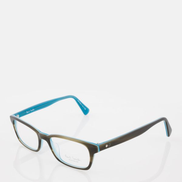 Paul Smith Olive Tortoiseshell And Teal 'Woodley' Spectacles
