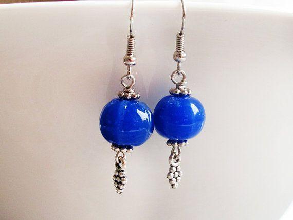 Lapis Lampwork Earrings Glass Bead Dangles by GlassHouseLampwork