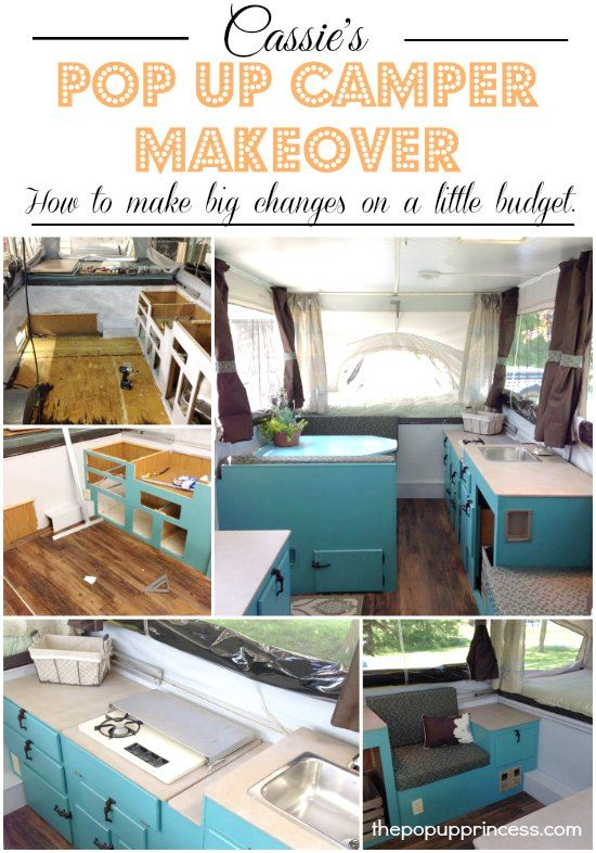 Pop Up Camper Remodel: Cassie's Pop Up Makeover.  You can make big changes on a little budget.  Cassie only spent $200 to totally transform her pop up trailer.