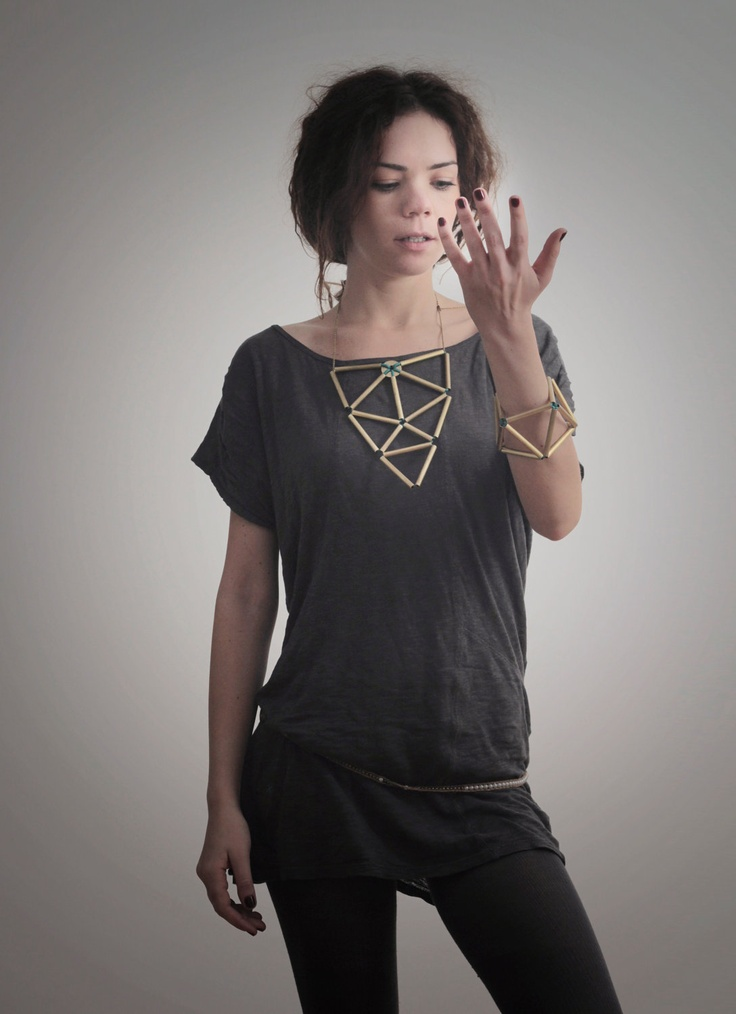 30% off - cybermonday - geometric triangle statement brass necklace - laws of geometry necklace. $50.00, via Etsy.