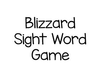 This is a game where students will play with a partner.  Students will pick a card and read aloud.  If student draws a blizzard card, the student must return all their cards back to the container.  STUDENTS LOVE this game in my Kindergarten class!