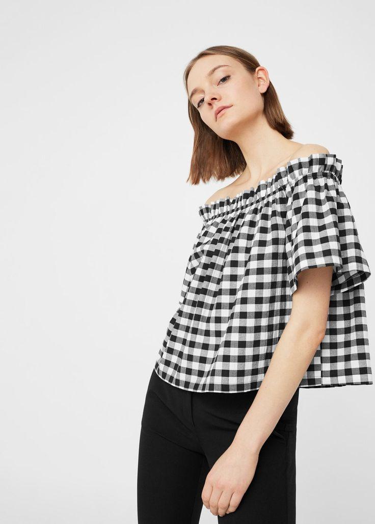 Blusa cuadros vichy - Camisas de Mujer | MANGO España