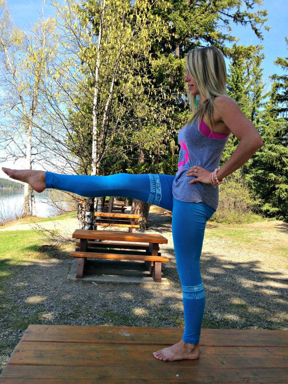 Blue Tribal Workout Tights by PiperAthletica on Etsy, $42.00