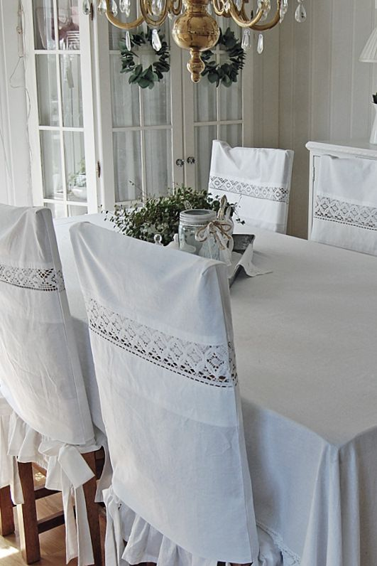 Vintage Pillowcases Used to Make Cover for Chairs Idea for DIY, Dining room. White, Grey, Black, Chippy, Shabby Chic, Whitewashed, Cottage, French Country, Rustic, Swedish decor Idea. ***Pinned by oldattic ***