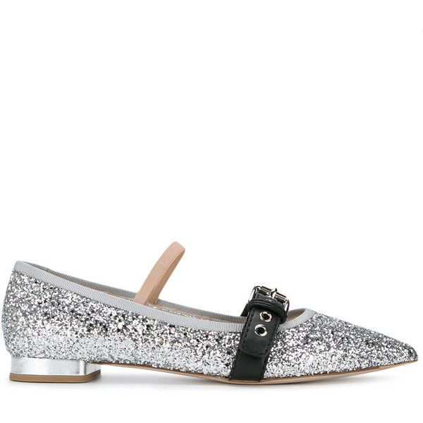 Miu Miu Miu Miu Glitter Ballerina Shoes (€560) ❤ liked on Polyvore featuring shoes, flats, metallic, ballet flat shoes, glitter ballet flats, miu miu shoes, genuine leather shoes and leather ballet shoes