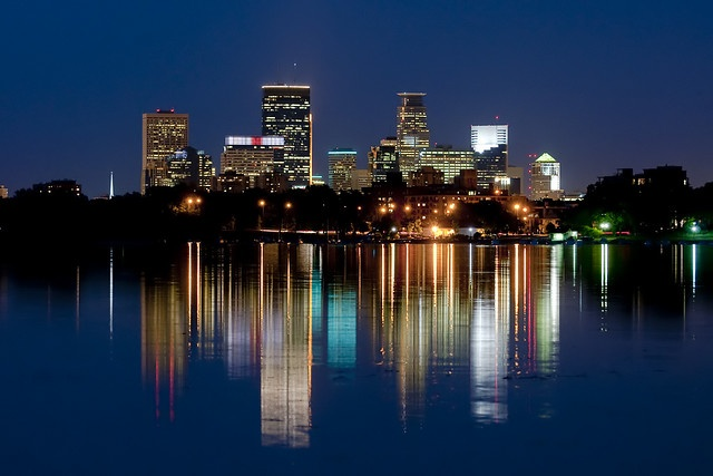 Reflection of Minneapolis skyline from Lake Calhoun. One of my all time favorite views/spots in the city.
