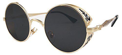 QUALITY Vivian & Vincent Vintage Hippie Retro Metal Round Circle Frame Sunglasses (Gold Frame Black Lens)