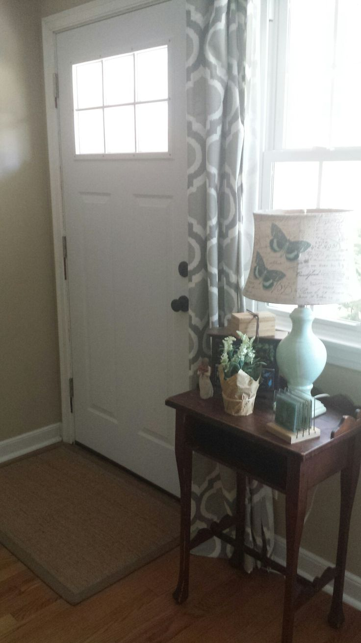 Simple little entryway. Curtains from Target.