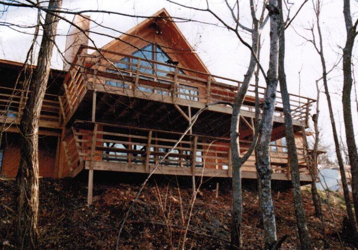 Rear Elevation Cedar Siding Treated Deck Trapezoid Windows Home Construction Custom Lake Cedar Siding