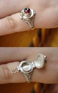 Antique Poison Rings used to have a ring just like this but the stone was a heart shaped garnet oh how i miss it