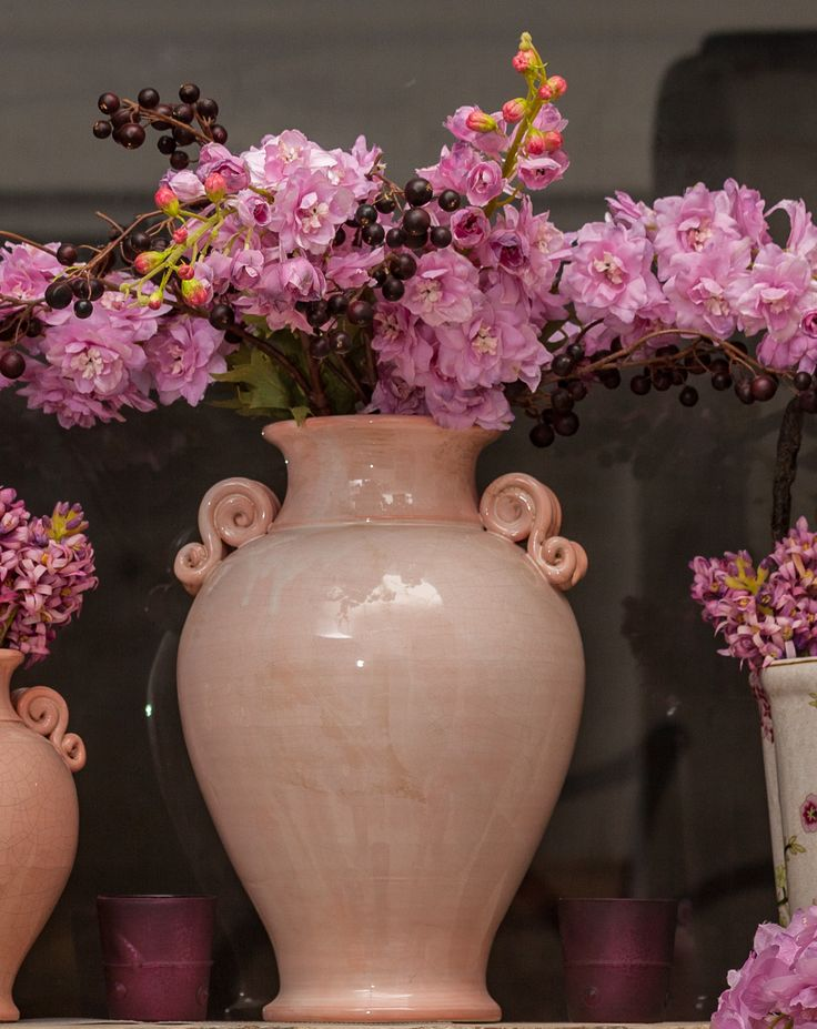 Wonderful shiny pink vases, Ceramic Beauties - Pink Decorations - Pink Artificial Flowers