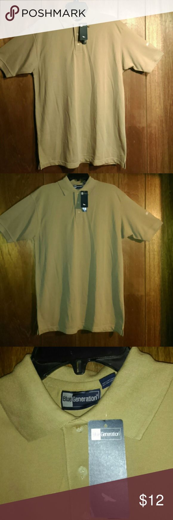  Men's Polo Golf Shirt - M New with tags beige short sleeved polo shirt. This shirt is a men's size medium, which would fit a women's size large. It has a small white company logo on the left sleeve, which is pictured. Super comfy and washes and dries very well. Blue Generation Shirts Polos