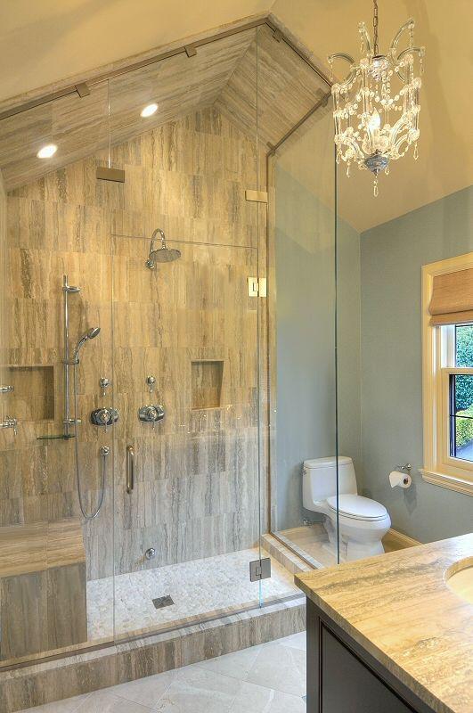 Sloped ceiling for steam shower and chandelier lighting for Sloped ceiling bathroom ideas