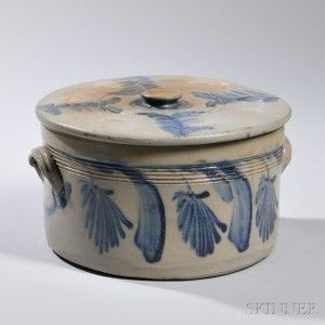 Cobalt-decorated Cake Crock with Lid