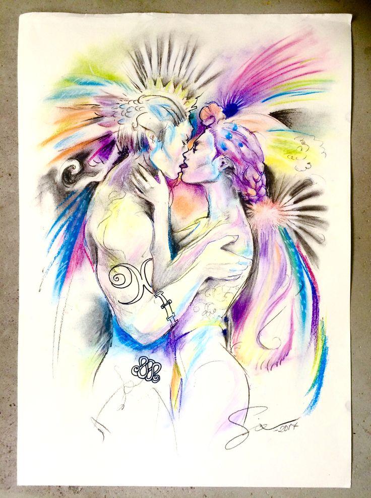 kiss, conte crayons, copyright Sirkku Tuomela 2017