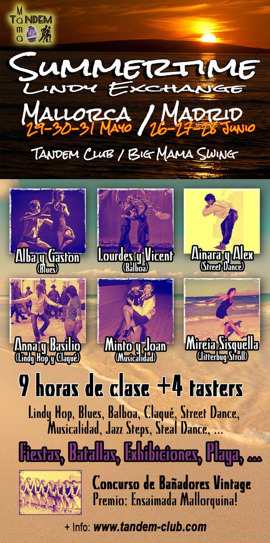 Clases de Baile: Blues, Lindy Hop, Balboa, Claqué.............y más en la academia Tandem Club en mayo Summertime Mallorca/Madrid