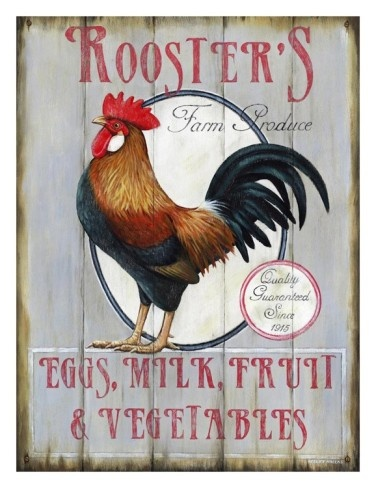 I ***have to*** have this print!!! (Rooster's Farm Produce Art Print)