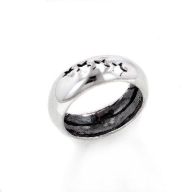 Shooting Star 7mm Wide Sterling Silver Band Ring