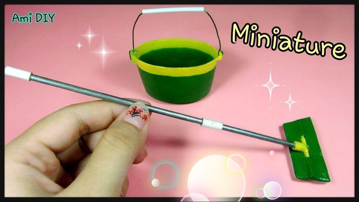 DIY How to make a miniature cleaning mop and bucket / Cách làm bộ lau nh...