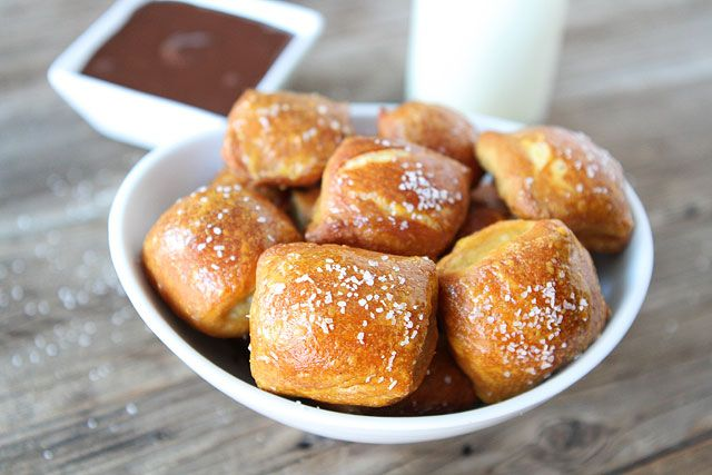 Homemade Pretzel Bites Filled with Peanut Butter and Dipped in Chocolate: YUM