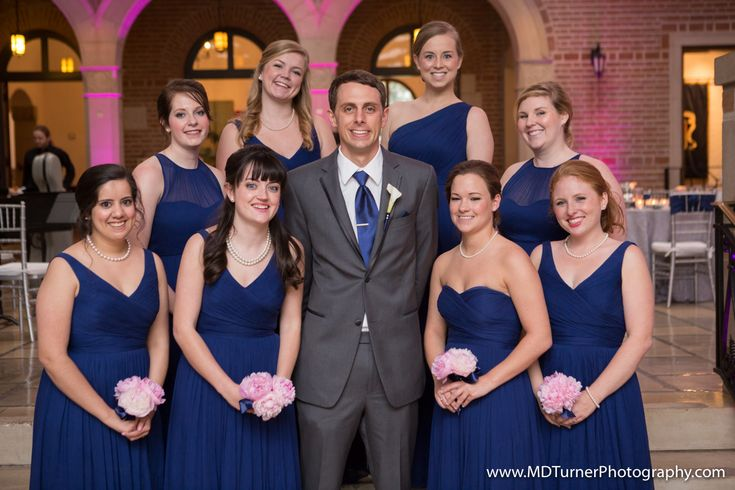 Blue bridesmaid dresses with varied necklines - Houston wedding photography - MD Turner Photography
