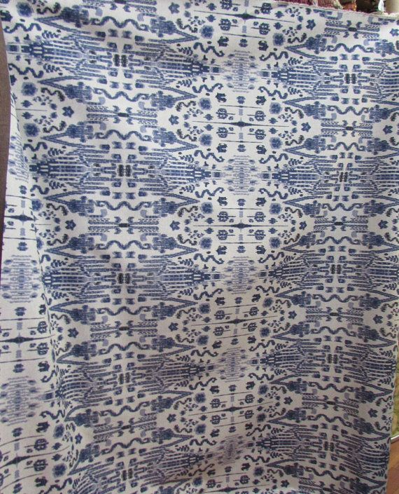 MUMBAY INDIAN BLUE (indigo/indian blue on linen color field ) 55wide cotton repeat v 25.25- h 10.25 ,geometric ikat perfect for drapes, bedding,